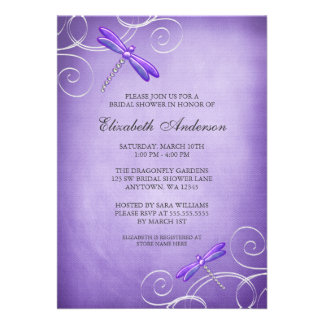Purple Dragonfly Swirls Bridal Shower Personalized Invites