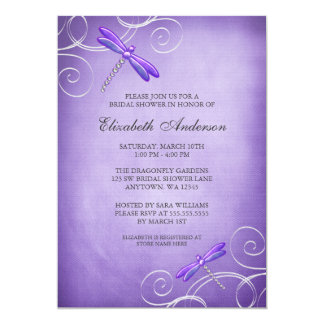 Purple Dragonfly Swirls Bridal Shower Personalized Invites