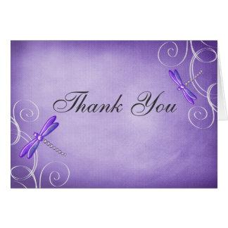 Purple Dragonfly Swirls Thank You Card