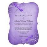 Purple Dragonfly Swirls Wedding Card