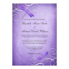 "Purple Dragonfly Swirls Wedding Invitations 5"" X 7"" Invitation Card at Zazzle"