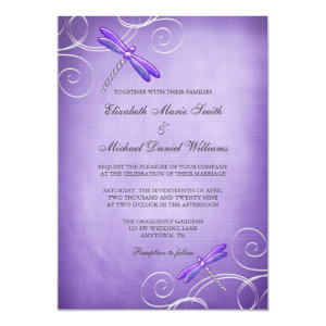 Purple Dragonfly Swirls Wedding Invitations 5
