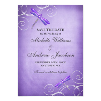 Purple Dragonfly Swirls Wedding Save the Date 5x7 Paper Invitation Card