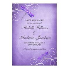 Purple Dragonfly Swirls Wedding Save the Date Custom Invite