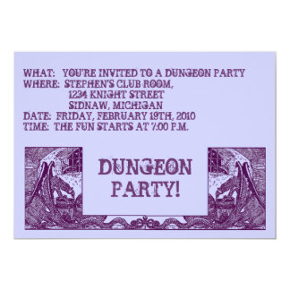 PURPLE DRAGONS IN THE DUNGEONS ~ PARTY INVITATION