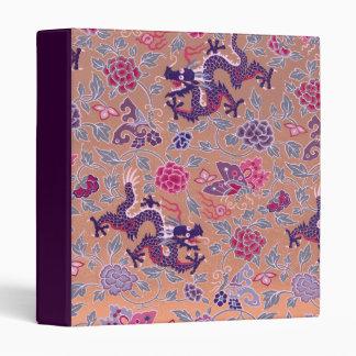Purple Dragons Pink and Purple Flowers Pattern 3 Ring Binder