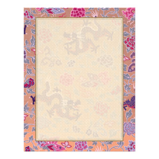 """Purple Dragons Pink and Purple Flowers Pattern 8.5"""" X 11"""" Flyer"""