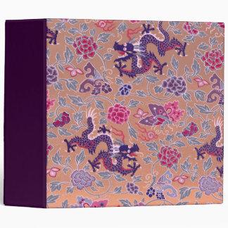 Purple Dragons Pink and Purple Flowers Pattern Binder