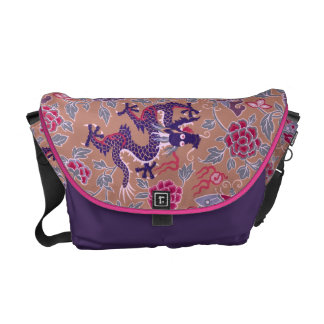 Purple Dragons Pink and Purple Flowers Pattern Messenger Bag