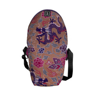 Purple Dragons Pink and Purple Flowers Pattern Courier Bag