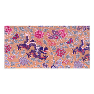 Purple Dragons Pink and Purple Flowers Pattern Photo Card