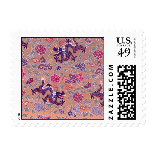 Purple Dragons Pink and Purple Flowers Pattern Postage