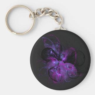 purple dreams fractals basic round button keychain
