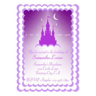 Purple Dreamy Castle In The Clouds Birthday Card