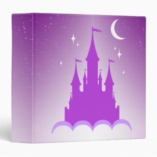 Purple Dreamy Castle In The Clouds Starry Moon Sky 3 Ring Binder