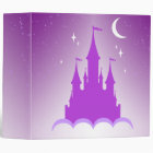 Purple Dreamy Castle In The Clouds Starry Moon Sky 3 Ring Binder