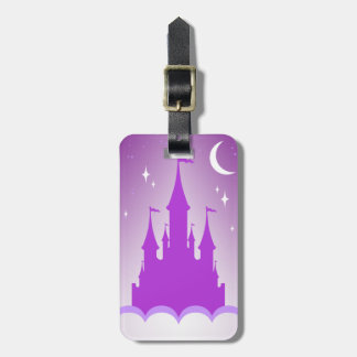 Purple Dreamy Castle In The Clouds Starry Moon Sky Bag Tag