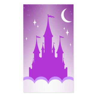 Purple Dreamy Castle In The Clouds Starry Moon Sky Business Card Templates