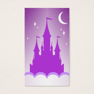 Purple Dreamy Castle In The Clouds Starry Moon Sky Business Card