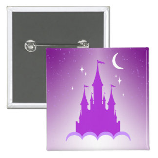 Purple Dreamy Castle In The Clouds Starry Moon Sky Button