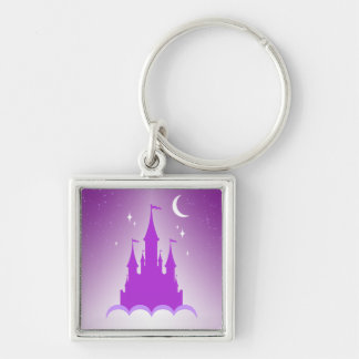 Purple Dreamy Castle In The Clouds Starry Moon Sky Keychain