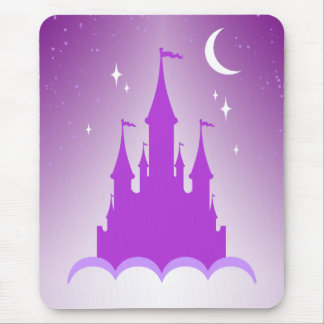 Purple Dreamy Castle In The Clouds Starry Moon Sky Mouse Pad