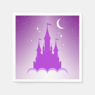 Purple Dreamy Castle In The Clouds Starry Moon Sky Standard Cocktail Napkin
