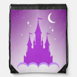 Purple Dreamy Castle In The Clouds Starry Moon Sky Drawstring Backpacks