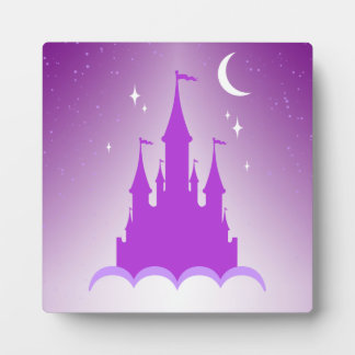 Purple Dreamy Castle In The Clouds Starry Moon Sky Photo Plaques