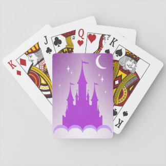 Purple Dreamy Castle In The Clouds Starry Moon Sky Playing Cards