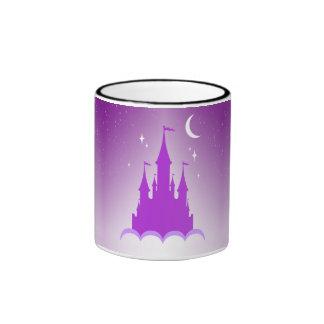Purple Dreamy Castle In The Clouds Starry Moon Sky Ringer Mug
