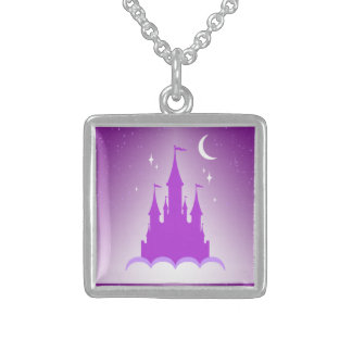 Purple Dreamy Castle In The Clouds Starry Moon Sky Square Pendant Necklace