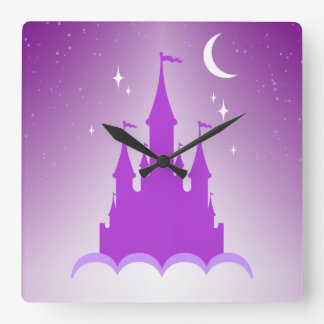 Purple Dreamy Castle In The Clouds Starry Moon Sky Square Wall Clock