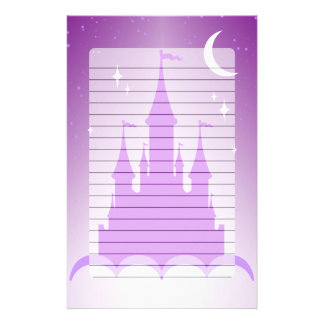 Purple Dreamy Castle In The Clouds Starry Moon Sky Stationery