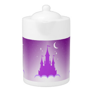 Purple Dreamy Castle In The Clouds Starry Moon Sky Teapot