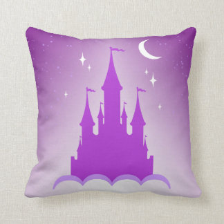 Purple Dreamy Castle In The Clouds Starry Moon Sky Throw Pillow