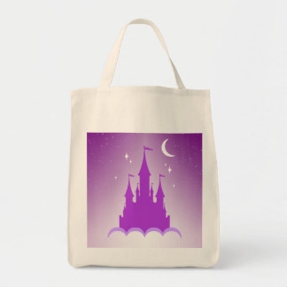 Purple Dreamy Castle In The Clouds Starry Moon Sky Tote Bag