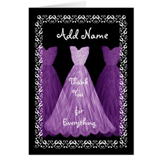 PURPLE Dress BRIDESMAID Wedding Thank You R451B Card