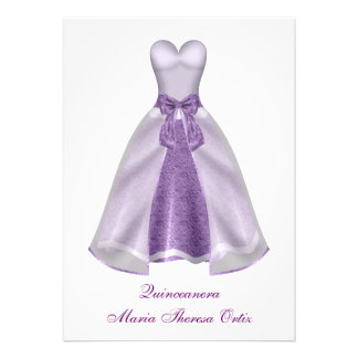 Purple Dress Quinceanera 15th Birthday Party Personalized Invite