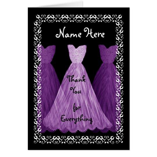 PURPLE Dresses BRIDESMAID Wedding Thank You Card