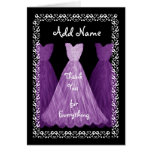 PURPLE Dresses BRIDESMAID Wedding Thank You R451 Greeting Cards