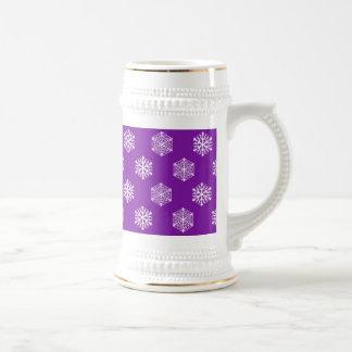 Purple Drinkware with Snowflakes 18 Oz Beer Stein