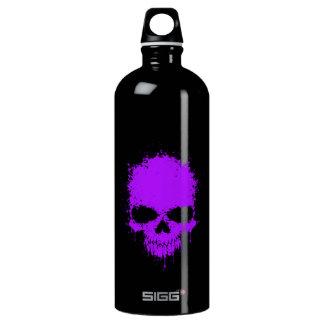 Purple Dripping Splatter Skull Water Bottle