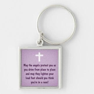 Purple Driver's Prayer Blessing Keychain