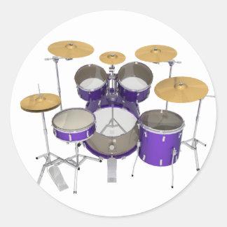 Purple Drum Kit: Classic Round Sticker