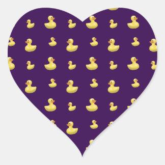 Purple duck pattern heart sticker