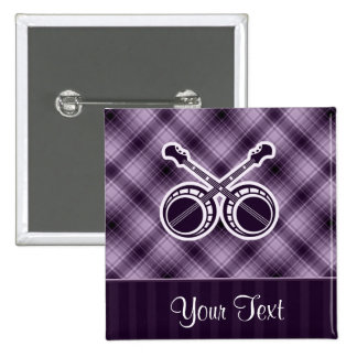 Purple Dueling Banjos 2 Inch Square Button