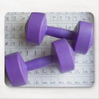 Purple dumbbells. mouse pad