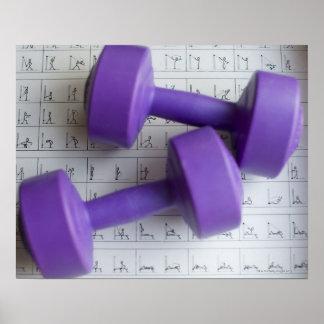 Purple dumbbells. posters
