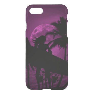 Beach Themed Purple Dusk with Surfergirl in Black Silhouette iPhone 7 Case